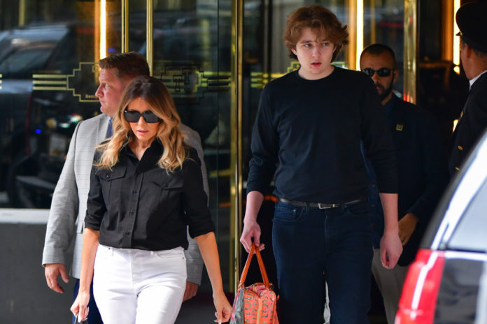 Barron Trump shows off his 6-foot-7 height in NYC