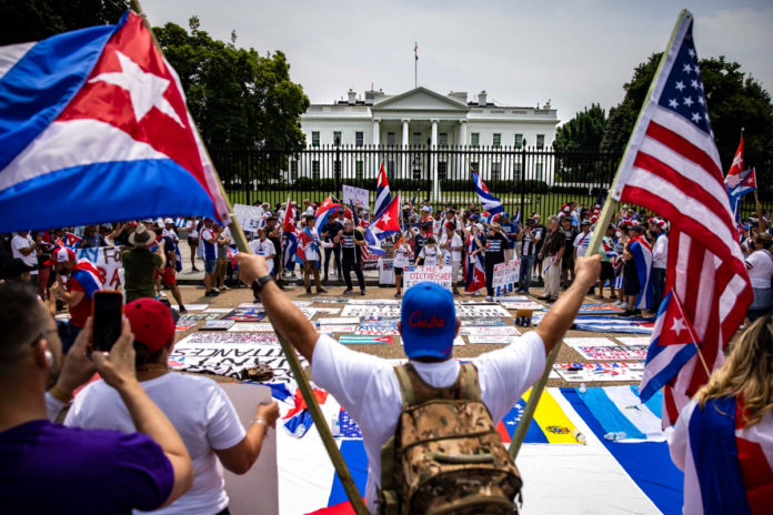Loud protest at White House aims to push Biden into taking action against Cuba