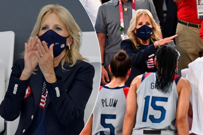 Jill Biden 'all decked out' in Team USA gear for her day at the Tokyo Olympics