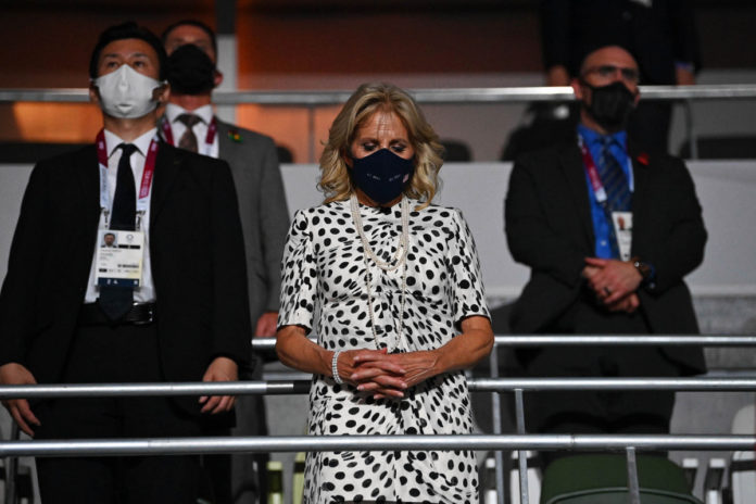 Jill Biden masks up with world leaders at Olympics 2021 opening ceremony