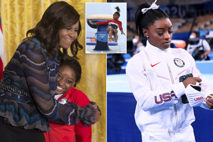 Michelle Obama defends Simone Biles in wake of Olympic withdrawal