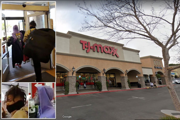 Crooks stroll out of LA Angeles TJ Maxx with armfuls of merch