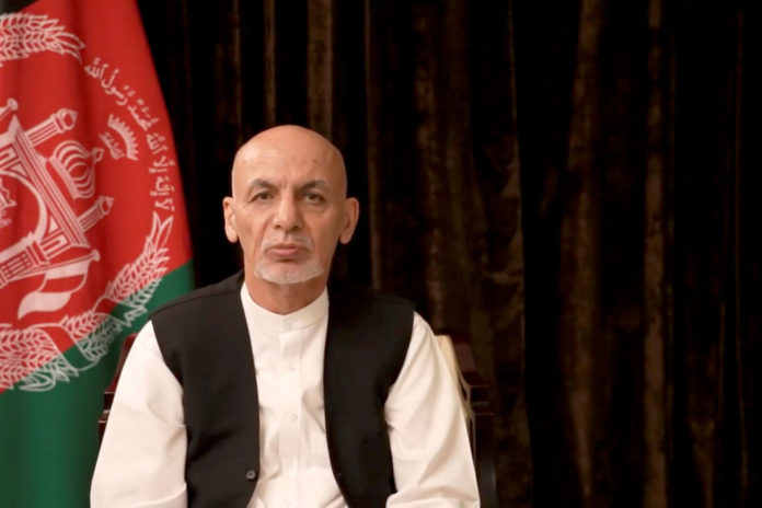 Afghan President Ashraf Ghani makes an address about the latest developments in the country from exile in United Arab Emirates.