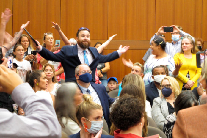 Louisiana education hearing ended by maskless