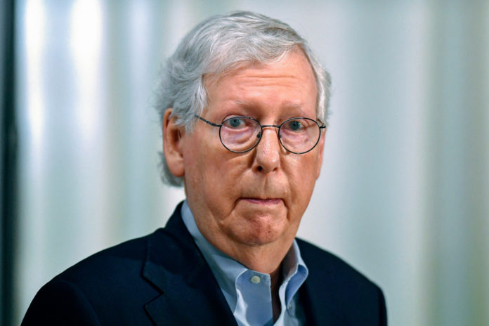 Senate Minority Leader Mitch McConnell of Ky., speaks to reporters about the ongoing situation in Afghanistan during a news conference in Louisville, Ky., Monday, Aug. 16, 2021.