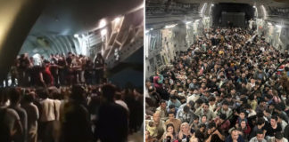 Photo shows over 600 Afghan refugees packed inside Air Force plane