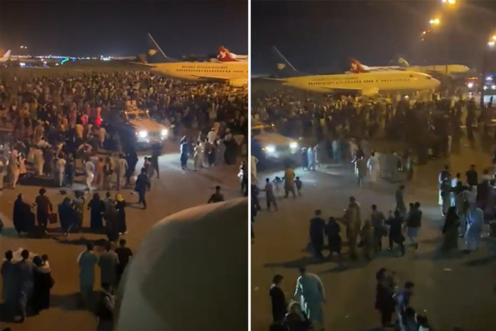 Kabul airport chaos seen in videos posted to social media