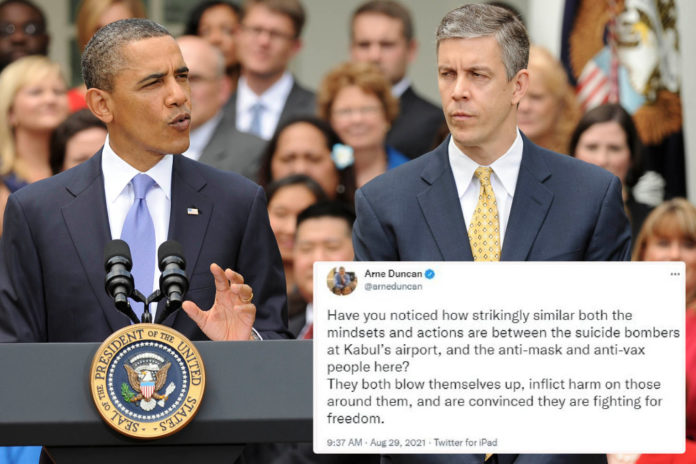 Arne Duncan compares anti-maskers to Kabul suicide bomber