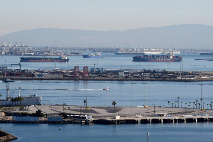 California has record number of container ships waiting off coast