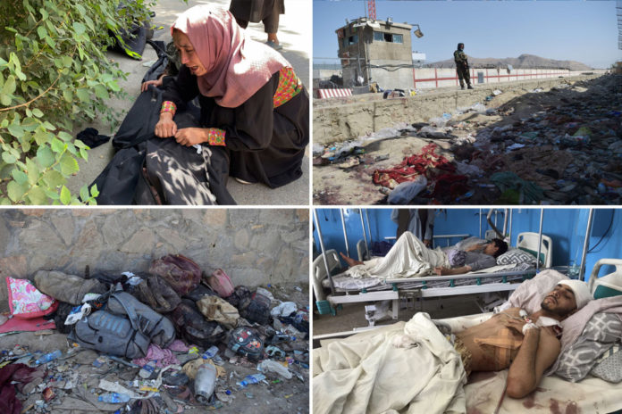 Heartbreaking scenes of chaos day after Afghan suicide blasts