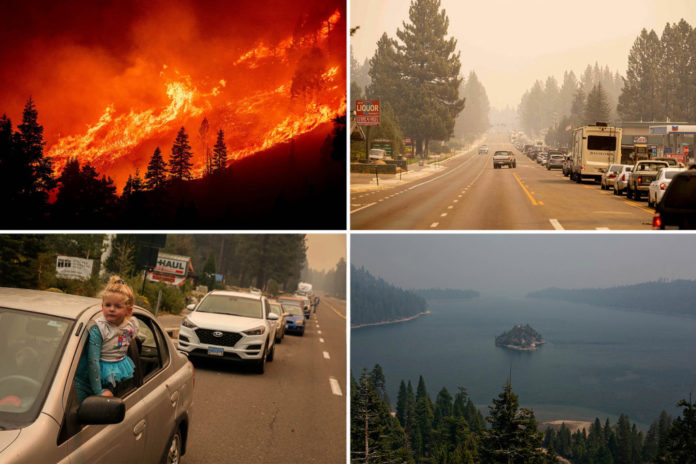 California fire approaches Lake Tahoe after mass evacuation