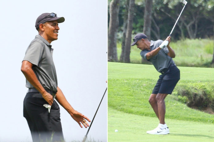 Obama golfs with his buddies hours before 60th birthday bash