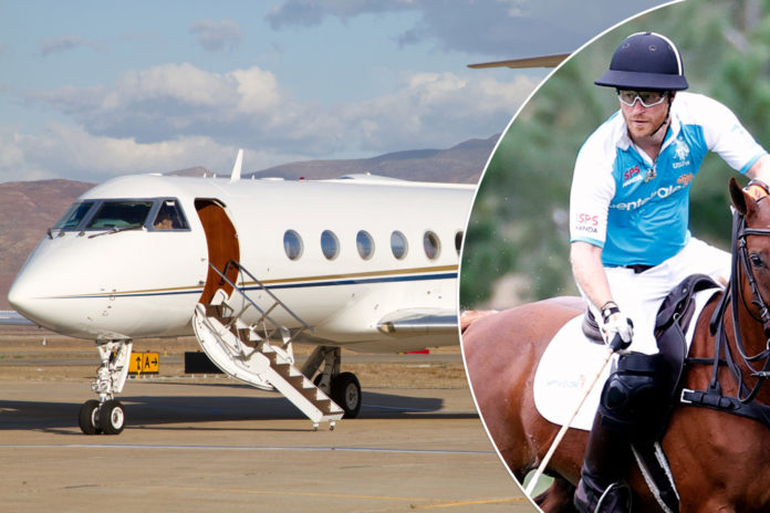 Prince Harry flies private jet home from polo match