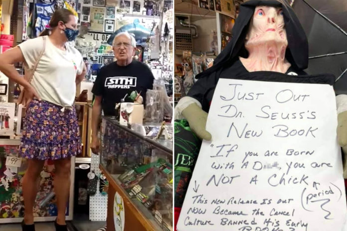 Store owner gets in heated exchange with transgender woman over sign