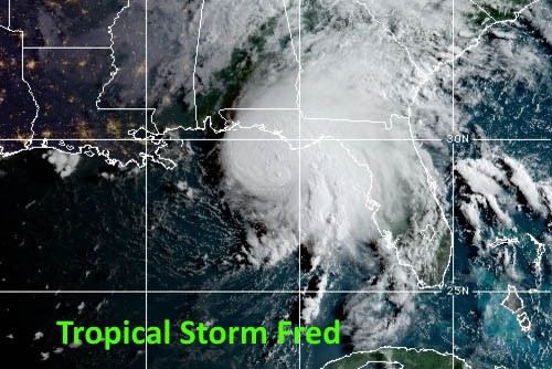 Tropical Storm Fred makes landfall over Florida.