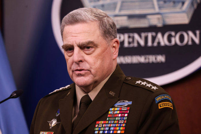 U.S. Joint Chiefs Chairman General Mark Milley discusses the end of the military mission in Afghanistan during a news conference at the Pentagon in Washington, U.S., September 1, 2021