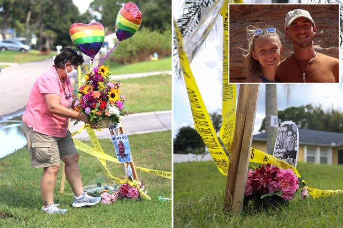 Brian Laundrie's home inundated with flowers for Gabby Petito
