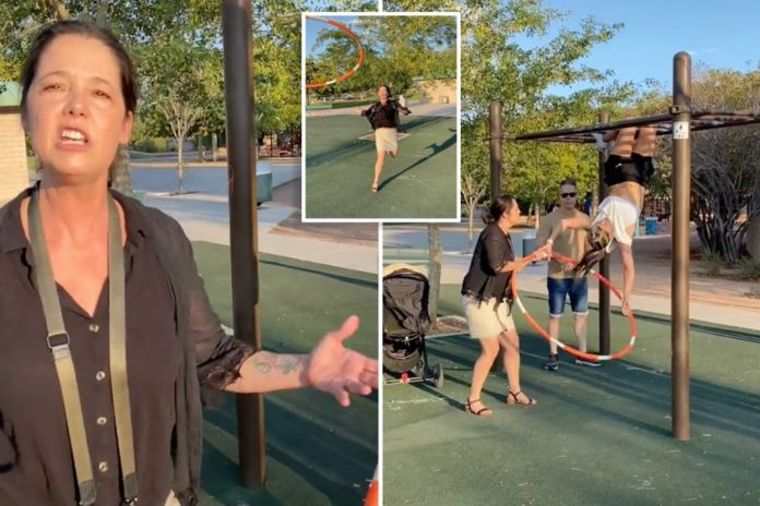 Video appears to show 'Karen' ripping hula hooper in playground