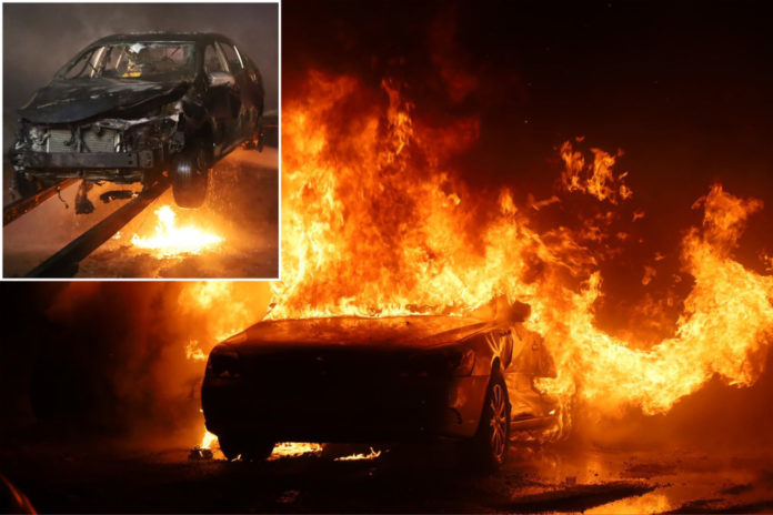 Indianapolis firefighters battle blaze at auto yard that destroyed 40 cars