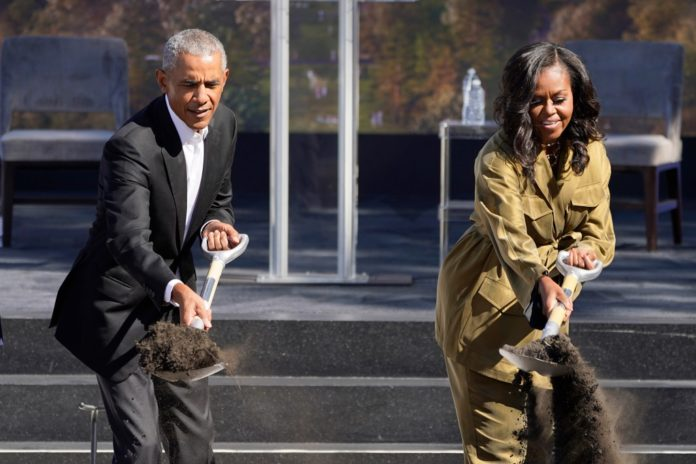 Obamas break ground on presidential library after years of delays
