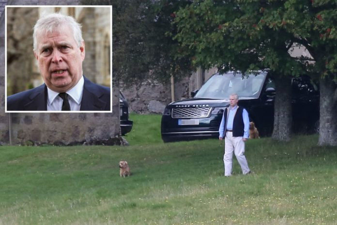 Prince Andrew smiles as he leaves reported royal 'hideaway'