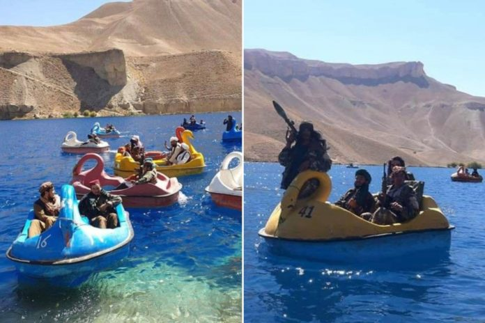 Taliban fighters seen in pedal boats on Afghanistan lake