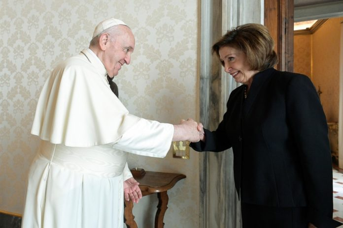 Nancy Pelosi meets with Pope Francis at the Vatican