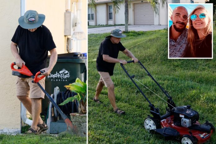 Brian Laundrie's dad mows lawn following Gabby Petito autopsy