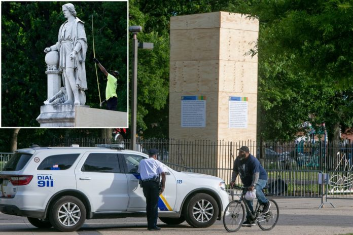 Christopher Columbus statue in Philadelphia to remain in box for parade, judge rules