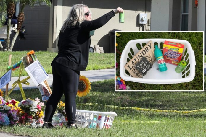 'Dirty Laundrie' basket placed at memorial for Gabby Petito