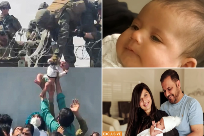 Afghan baby lifted over fence at Kabul airport reunited with family in Arizona