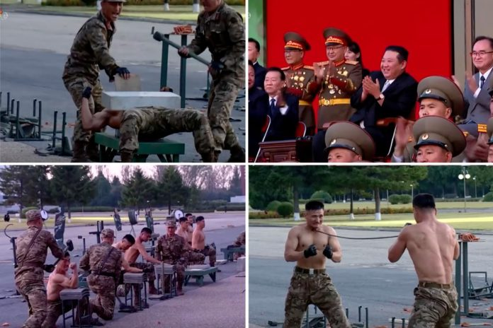Kim Jong Un enjoys display of force by shirtless soldiers