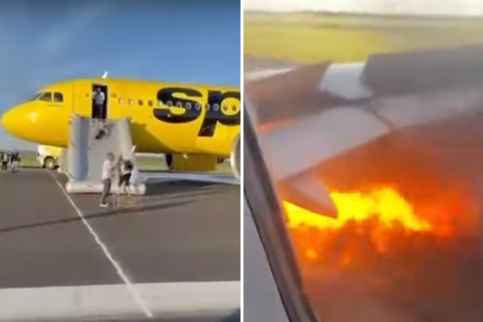 Spirit Airlines passengers forced to evacuate plane with engine on fire